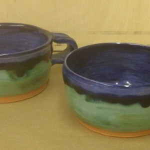 Two Wheel Thrown Handled Chili/Soup Bowls, Cobalt/Aqua