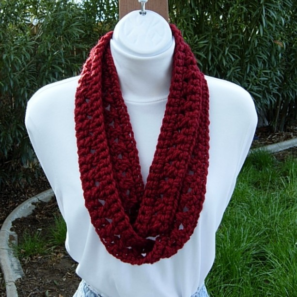 Skinny INFINITY SCARF, Soft 100% Acrylic, Women's Small Loop Cowl, Dark Solid Red Soft Crochet Knit, Narrow Neck Tie, Ready to Ship in 2 Days