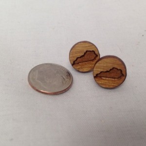 Wooden Tennessee Circle State Outline Stud Earrings - FREE US SHIPPING