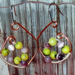 Drop Earrings, Wire Wrapped, Natural Copper, Sterling Silver, Cat's Eye and Turquoise