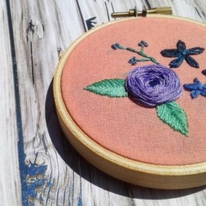 Floral Hand Embroidery Hoop- Wall Art (3 inch)- Designed for Hopebox