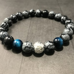 The Draco | handmade beaded stretch bracelet, snowflake obsidian, blue green tiger's eye, silver lava rock, men's / unisex, Gifts for Him