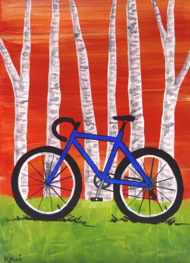 """Bicycle with Birch Trees 3"" original painting"