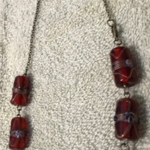 """A Queen's Jewels handmade bead and chain necklace 22"""" long"""