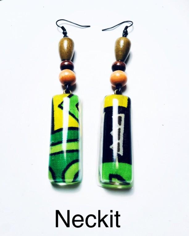 Resin African Print Fabric Earrings Green