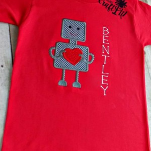 Valentines Day Boys Tshirt, Toddlers, Infants,Heart Robot, Hearts, Personalized, Embroidered, Appliqued