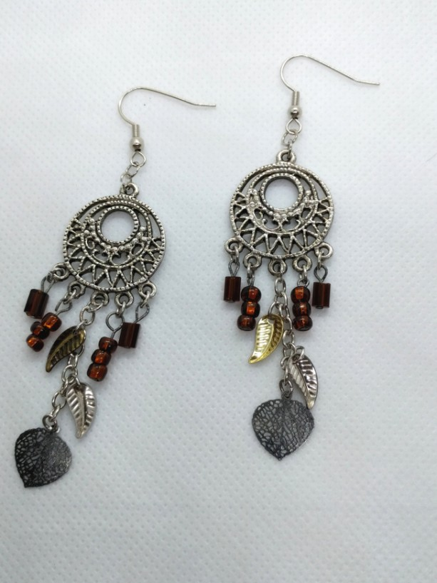 Dreamcatcher Style Earrings, Chandelier Feather Charm Earrings, American Southwest Earrings, Earth Tone Drop Earrings by Cumulus Luci