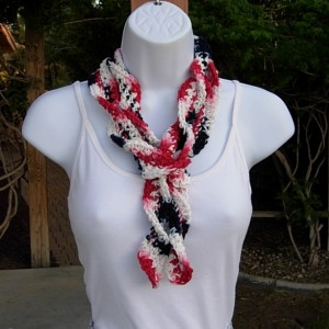 Red White and Blue Skinny 4th of July SUMMER SCARF Small 100% Cotton Spiral Crochet Knit Narrow Lightweight Patriotic Women's Scarf, Ready to Ship in 3 Days