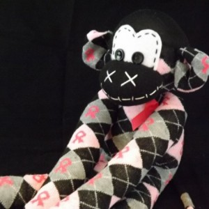 Sock monkey : Breast Cancer Grace ~ The original handmade plush animal made by Chiki Monkeys