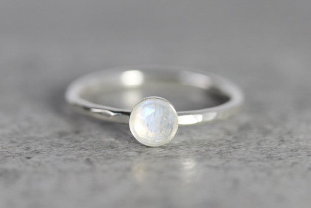 Moonstone Stacking Ring - Moonstone Ring - Moonstone Solitaire Ring