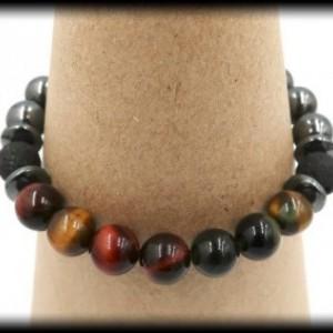 Hematite, Multi-Color Tiger's Eye and Lava Rock Diffuser Bracelet