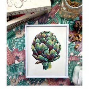 8x10 Artichoke Print, Vegetable Print, Original Painting, Colorful Kitchen Decor, Kitchen Print, Veggie Painting, Food Illustration