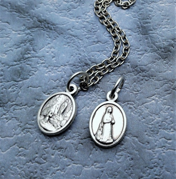 Tiny 1/2 inch Our Lady of Lourdes Necklace. Baby Baptism Gift.