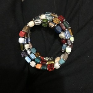 Multicolored, Ceramic Beaded Memory Wire Bracelet