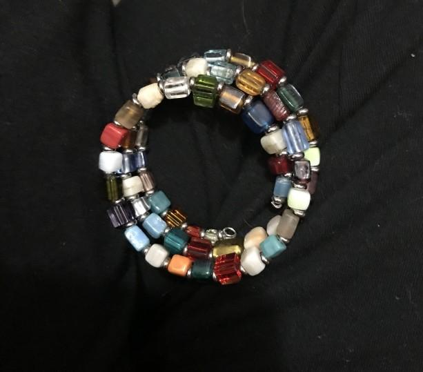 Multicolored, Ceramic Beaded Memory Wire Bracelet