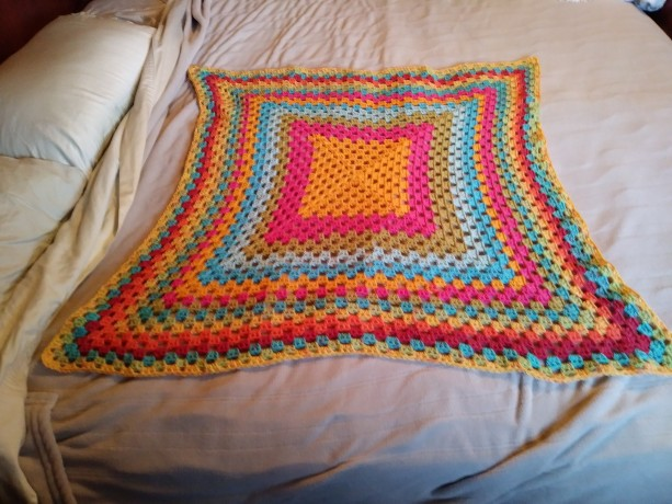 Rainbow Blanket, red blanket, yellow blanket, green blanket, teal blanket, blue blanket, orange blanket, blanket, granny square blanket