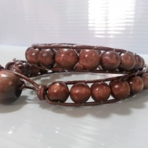 Men's Wooden Bead and Leather Wrap Bracelet
