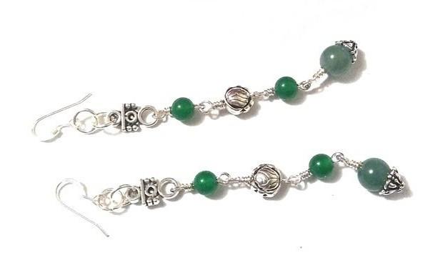 Chinese Jade Earrings Multiple Gemstone Earrings, Aventurine Earrings, Gemstone Earrings, Beaded Jewelry Sale, Sterling Silver Earrings Gift