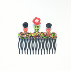Extra Large Red, Green, and Black Day of the Dead Comb