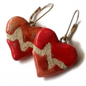 Heartbeat Earrings - Mosaic Tile - EKG - Interchangeable - Reversible