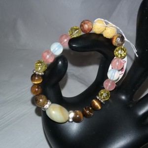 Aventurine & Various Healing Gemstones w/Lava Stone Diffuser Bracelet