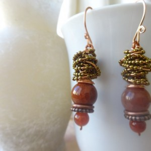 Boho-Inspired Dangle Earrings with Bead Wrap