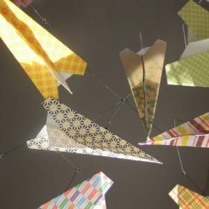 Paper Airplane Mobile, Plane Nursery Mobile, Airplane Room Decor, Origami Plane Mobile, Baby Mobile, Nursery Decor, Aeronautical Decor