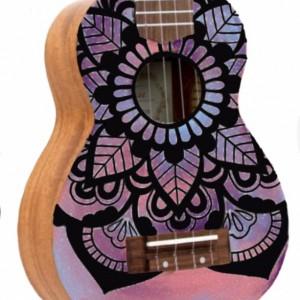 Soprano Galaxy Mandala Ukulele, Hand Painted Ukulele, Decorated Ukulele, Galaxy Paint, instrument, ukelele, concert, tenor, baritone, guitar