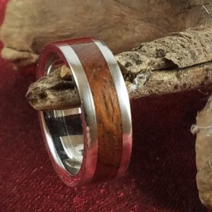 Size 5 stainless steel core ring with walnut,  birch and turquoise, 6mm band