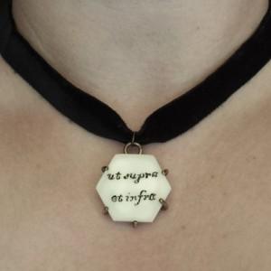 Occult Scrimshaw Velvet Choker Necklace
