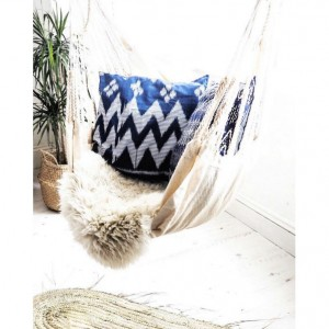 """18 x 18 inches Indigo Handwoven """"Java Ripples"""" Traditional Ikat Decorative Pillow Cushion from Central Java"""