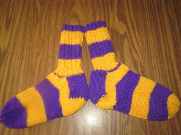 Hand Knit Adult Winter Socks- Purple and Gold