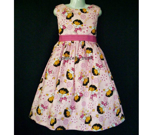 NEW Handmade Dora The Explorer w/Boots Pink Dress Custom Sz 12M-14Yrs