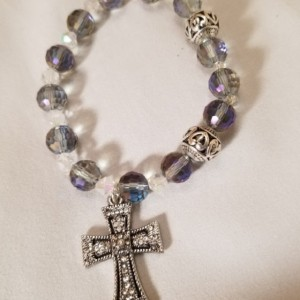 Rosary Bracelet Decade Stretch Band Purple Crystal Color Beads Catholic