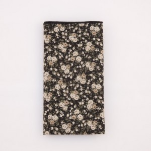 Pocket Square - Black/Cream/Tan Floral