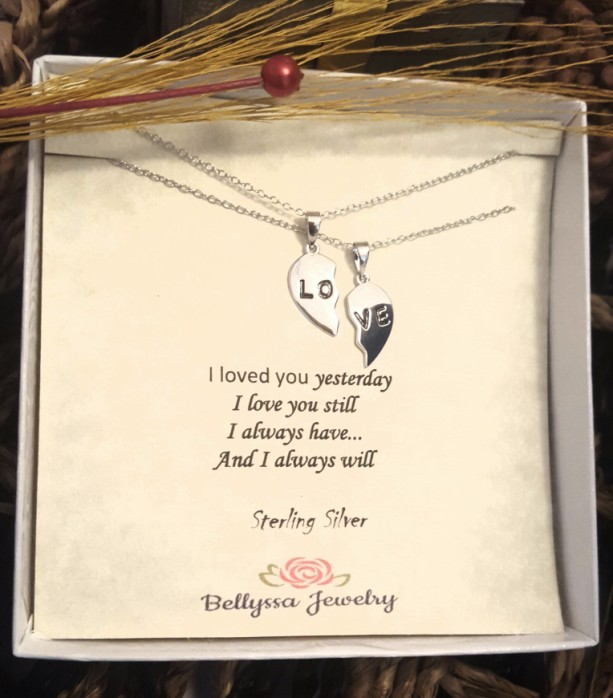 Womans Sterling Silver Rhodium Plated half broken hearth Love Pendant Necklace Set,Gift,Love Jewelry,Jewelry Quotes,Trendy Jewelry