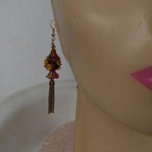 "Glass Handmade Earrings ""Forest Flowers"" Artisan Handcrafted Beads"