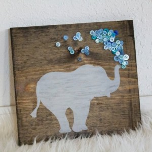 Hand Painted Elephant Sign~12x12 Sign~Elephant Decor~Nursery Decor~Wooden Sign