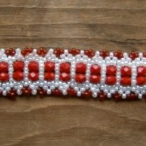 Red and white weave bracelet with snap clasp