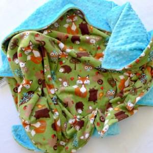 Kids Bedding - Minky Baby Blanket - Baby Blanket - Woodland Baby Blanket - Fox Baby Blanket - Unisex Baby Blanket - Gender Neutral - Forest