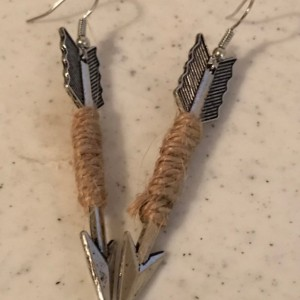 Handmade Arrow Hemp Wrapped Dangle Earrings