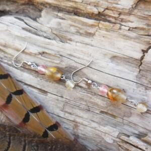 Gemstone Drop Earrings, Watermelon Quartz, Gift for Her, Naturalist.