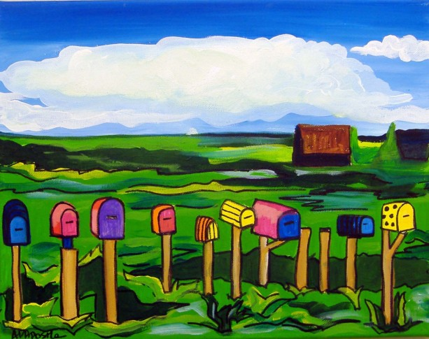 Mexican Folk Art - MAILBOXES - PRINT Signed By Artist A.V.Apostle