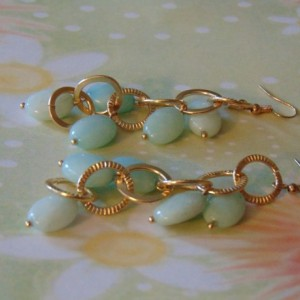 Faceted Gold Toned Rings Turquoise Amazonite Oval Drop Dangle Earrings