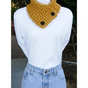 Mustard NECK WARMER SCARF, Small Buttoned Cowl, Dark Yellow Gold, Two Buttons, Thick Chunky Winter Crochet Knit, Ready to Ship in 3Days