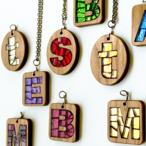 Personalized Initial Necklace, Cherry Wood and Glass Mosaic Letter Pendant, Made to Order