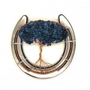 Horseshoe Tree of Life with Blue Dyed Quartz Chips