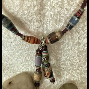 Chic boho paper bead necklace