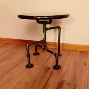 Industrial Black Pipe Table, End Table, Man Cave Table, Bar Table, Steampunk Table