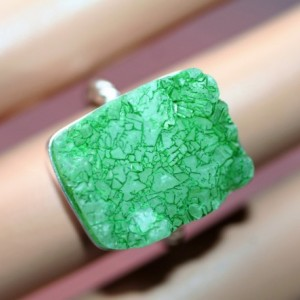 CHARTREUSE GREEN DRUZY! Solid Sterling Silver Ring / Finger Size 6